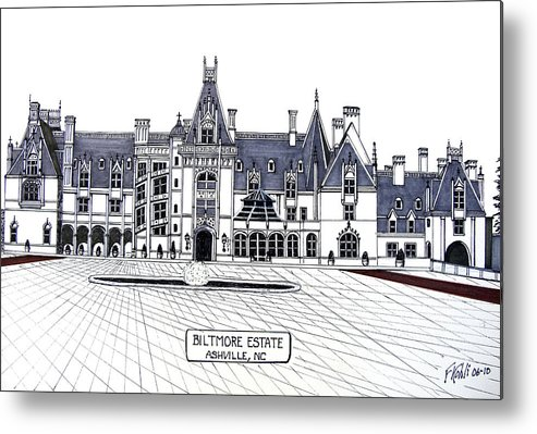 Ink Drawings Metal Print featuring the drawing Biltmore Estate by Frederic Kohli