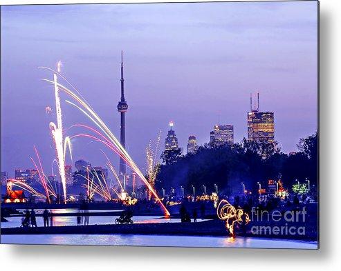 Toronto Metal Print featuring the photograph Toronto Fireworks by Elena Elisseeva