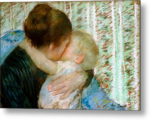 Mary Metal Print featuring the painting A Goodnight Hug by Mary Stevenson Cassatt