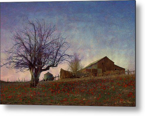 Barn Metal Print featuring the painting Barn On The Hill - Big Sky by R christopher Vest