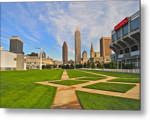Cleveland Metal Print featuring the Cleveland Skyline by Frozen in Time Fine Art Photography