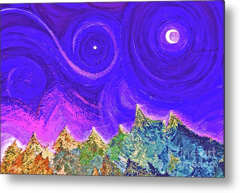 First Star Metal Print featuring the painting First Star Sunrise by First Star Art