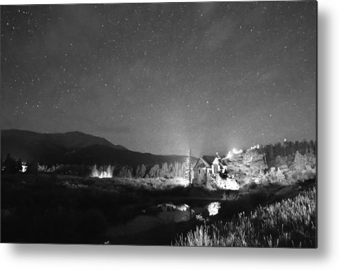 Chapel On The Rock Metal Print featuring the photograph Forest Of Stars Above The Chapel On The Rock Bw by James BO Insogna