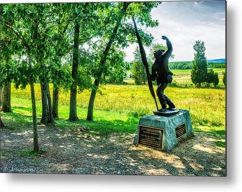 Grand Metal Print featuring the digital art Mississippi Memorial Gettysburg Battleground by Bob and Nadine Johnston