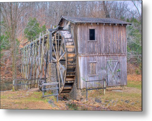 Old Metal Print featuring the photograph Old Mill Water Wheel And Sluce by Douglas Barnett