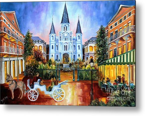 New Orleans Metal Print featuring the painting The Hours On Jackson Square by Diane Millsap