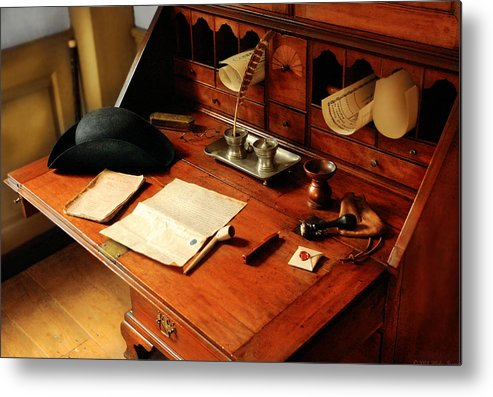 Savad Metal Print featuring the photograph Writer - The Desk Of A Gentleman by Mike Savad