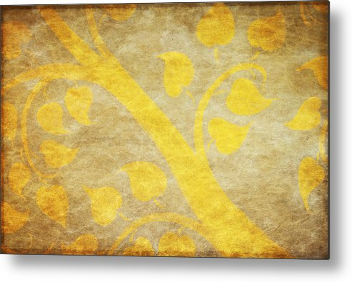 Abstract Metal Print featuring the painting Golden Tree Pattern On Paper by Setsiri Silapasuwanchai