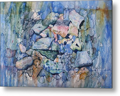Stylized Under Water Still Life/landscape Metal Print featuring the painting Blue Creek Stones by Patsy Sharpe