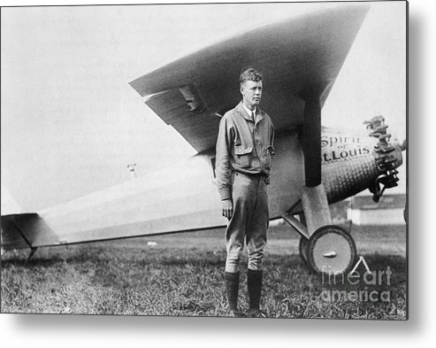 Charles Lindbergh Metal Print featuring the photograph Charles Lindbergh American Aviator by Photo Researchers