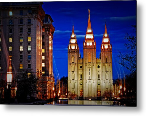 Salt Lake Temple Flowers Light Trails Heavenly Light Metal Print featuring the photograph Let Your Light Shine by La Rae Roberts