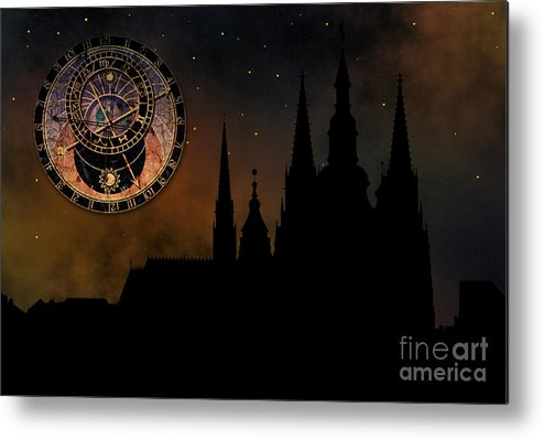 Hradcany Metal Print featuring the digital art Prague Casle - Cathedral Of St Vitus - Monuments Of Mysterious C by Michal Boubin