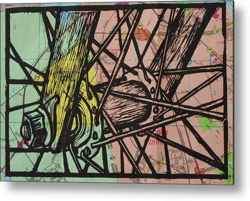 Spokes Metal Print featuring the drawing Spokes On Map by William Cauthern