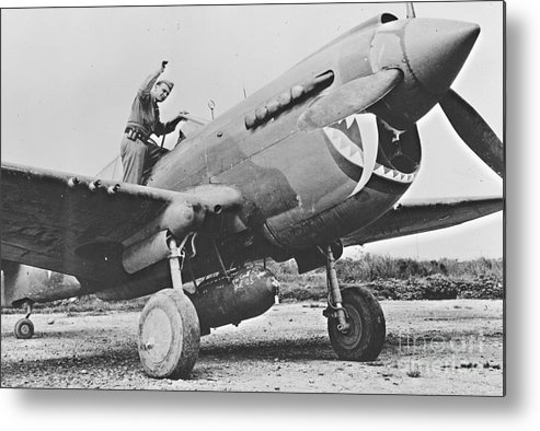 Warhawk P40 1943 Metal Print featuring the photograph Warhawk P40 1943 by Padre Art