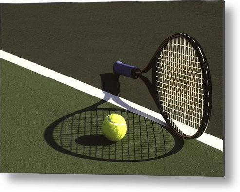 Tennis; Racquet; Ball; Balls; Shadow; Game; Games; Sport; Sports; Shadow; Tennis Ball; Tennis Racquet; Competition Metal Print featuring the photograph 10sne1 by Gerard Fritz