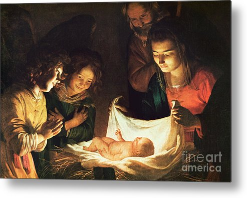 Adoration Of The Baby Metal Print featuring the painting Adoration Of The Baby by Gerrit van Honthorst