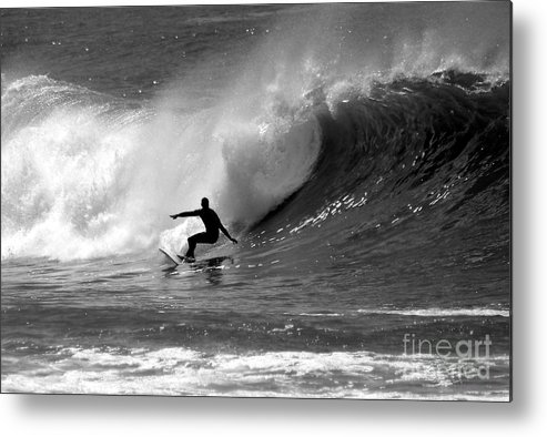 Black And White Metal Print featuring the photograph Black And White Surfer by Paul Topp