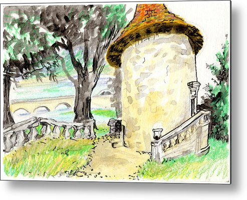 European Metal Print featuring the painting Chapel On Estate River by Tilly Strauss