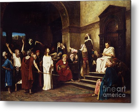 Christ Metal Print featuring the painting Christ Before Pilate by Mihaly Munkacsy