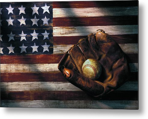 Folk Art American Flag Metal Print featuring the photograph Folk Art American Flag And Baseball Mitt by Garry Gay