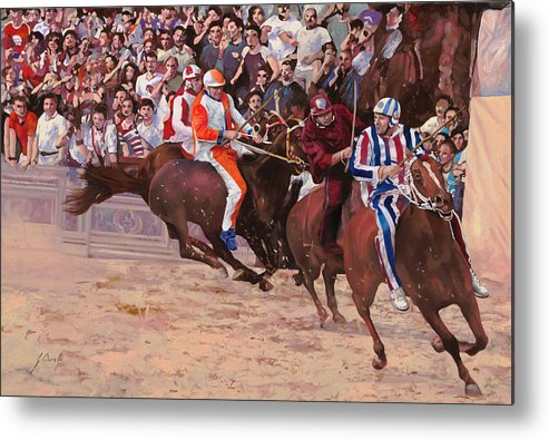 Italy Metal Print featuring the painting La Corsa Del Palio by Guido Borelli