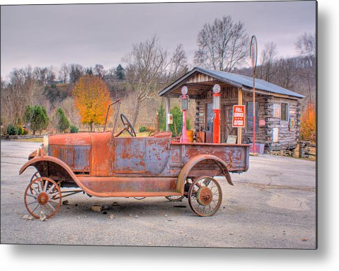 Old Metal Print featuring the photograph Old Truck And Gas Filling Station by Douglas Barnett