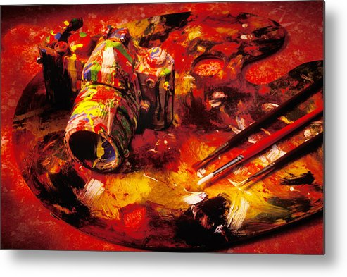 Camera Metal Print featuring the photograph Painted Camera by Garry Gay
