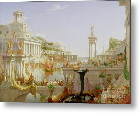 Civilisation; Ideal; Classical; Monument; Architecture; Column; Fountain; Hudson River School; The Course Of Empire: The Consummation Of The Empire Metal Print featuring the painting The Course Of Empire - The Consummation Of The Empire by Thomas Cole