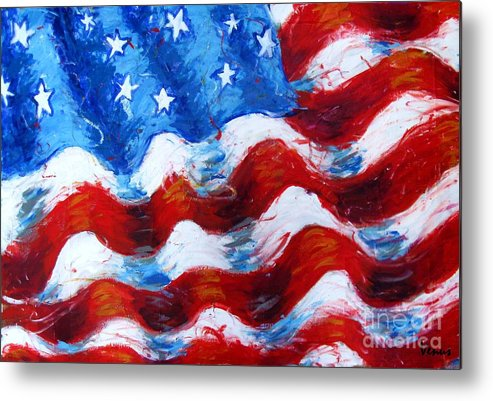 American Flag Metal Print featuring the painting American Flag by Venus
