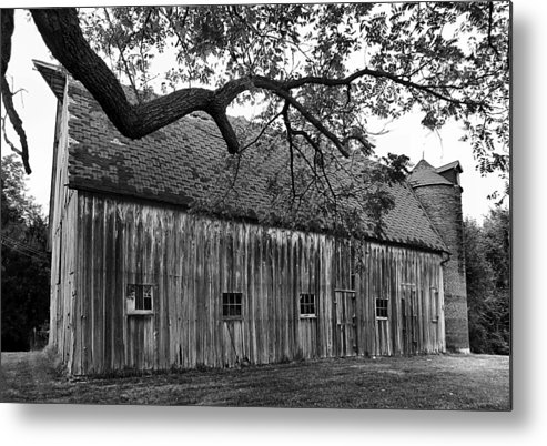 Old Barns Metal Print featuring the photograph Barn With Brick Silo In Black And White by Julie Dant