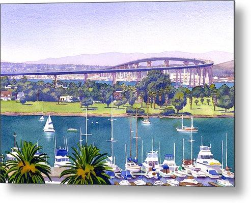 San Diego Metal Print featuring the painting Coronado Bay Bridge by Mary Helmreich