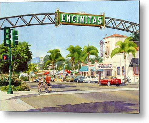 Encinitas Metal Print featuring the painting Encinitas California by Mary Helmreich