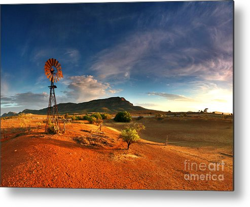 First Light Early Morning Windmill Dam Rawnsley Bluff Wilpena Pound Flinders Ranges South Australia Australian Landscape Landscapes Outback Red Earth Blue Sky Dry Arid Harsh Metal Print featuring the photograph First Light On Wilpena Pound by Bill Robinson