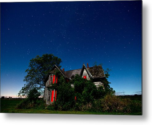 Abandoned Metal Print featuring the photograph Haunted Farmhouse At Night by Cale Best