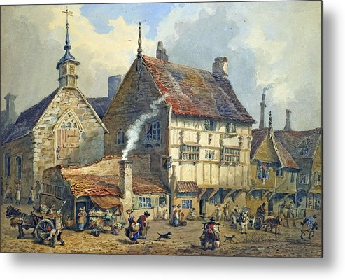 Old; Houses; House; St; Olaves; Church; Lower; Bridge; Street; Chester; Cheshire; Medieval; Architecture; Half-timbered; Half; Timbered; Daily; Life; Scene; Figure; Figures; Busy; Town; City; Shop; Shops; Commerce; Trade; Fruit And Vegetable; Stall; Fruit; Vegetable; Smoke; Smoking; Chimney; Anecdotal; Horse And Cart; Horse; Cart; English; British; Metal Print featuring the painting Old Houses And St Olaves Church by George Shepherd