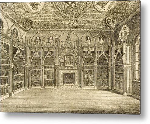 Neo-gothic Metal Print featuring the drawing The Library, Engraved By Godfrey by English School