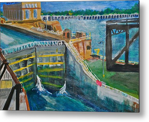 Dam Metal Print featuring the painting Lock And Dam 19 by Jame Hayes