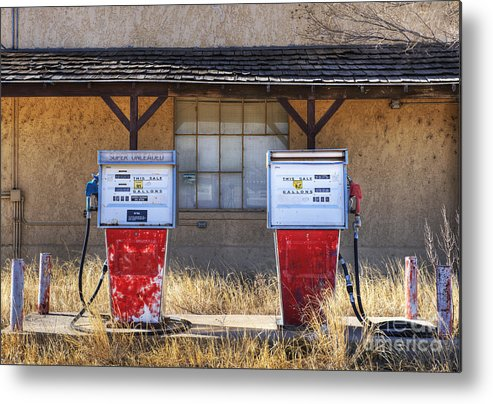 Abandoned Metal Print featuring the photograph Abandoned Gas Pumps And Station by Dave & Les Jacobs