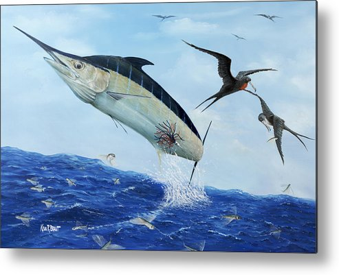 Blue Marlin Metal Print featuring the painting Airbourne by Kevin Brant