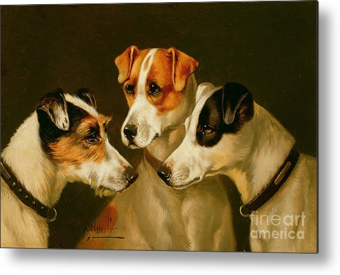Dog Metal Print featuring the painting The Hounds by Alfred Wheeler