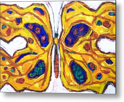 Insect Metal Print featuring the painting Yellow Butterfly by Kazuya Akimoto