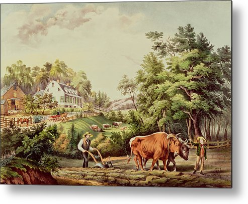 American Metal Print featuring the painting American Farm Scenes by Currier and Ives