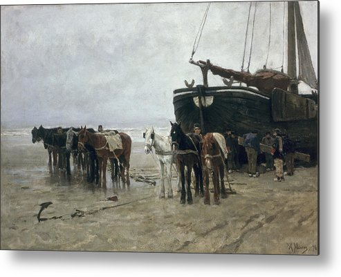 Boat Metal Print featuring the painting Boat On The Beach At Scheveningen by Anton Mauve