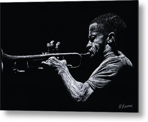 Musician Metal Print featuring the pastel Contemporary Jazz Trumpeter by Richard Young