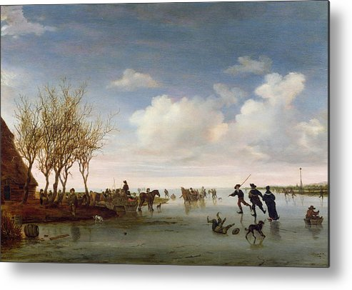 Dutch Metal Print featuring the painting Dutch Landscape With Skaters by Salomon van Ruysdael