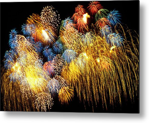 4th Of July Metal Print featuring the photograph Fireworks Exploding by Garry Gay