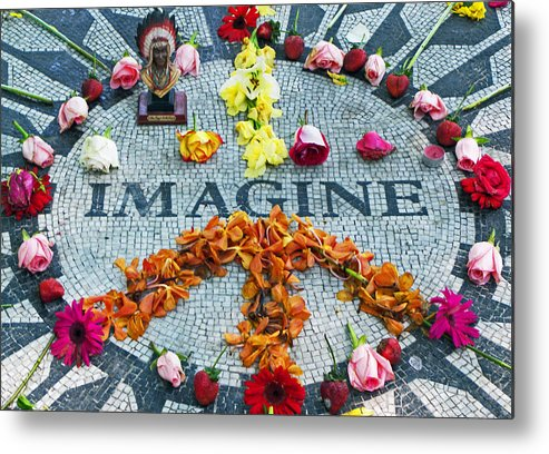 John Lennon Metal Print featuring the photograph Imagine Peace by Sharla Gentile