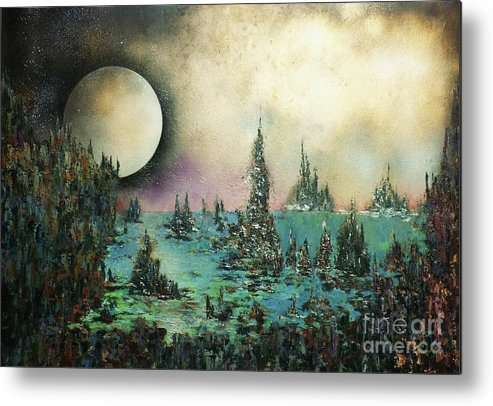 Landscape Metal Print featuring the painting Ocean Moonrise by Kaye Miller-Dewing