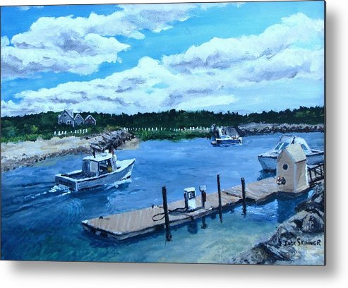 Seascape Metal Print featuring the painting Returning To Sesuit Harbor by Jack Skinner