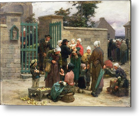 Taking Metal Print featuring the painting Taking In Foundlings by Leon Augustin Lhermitte